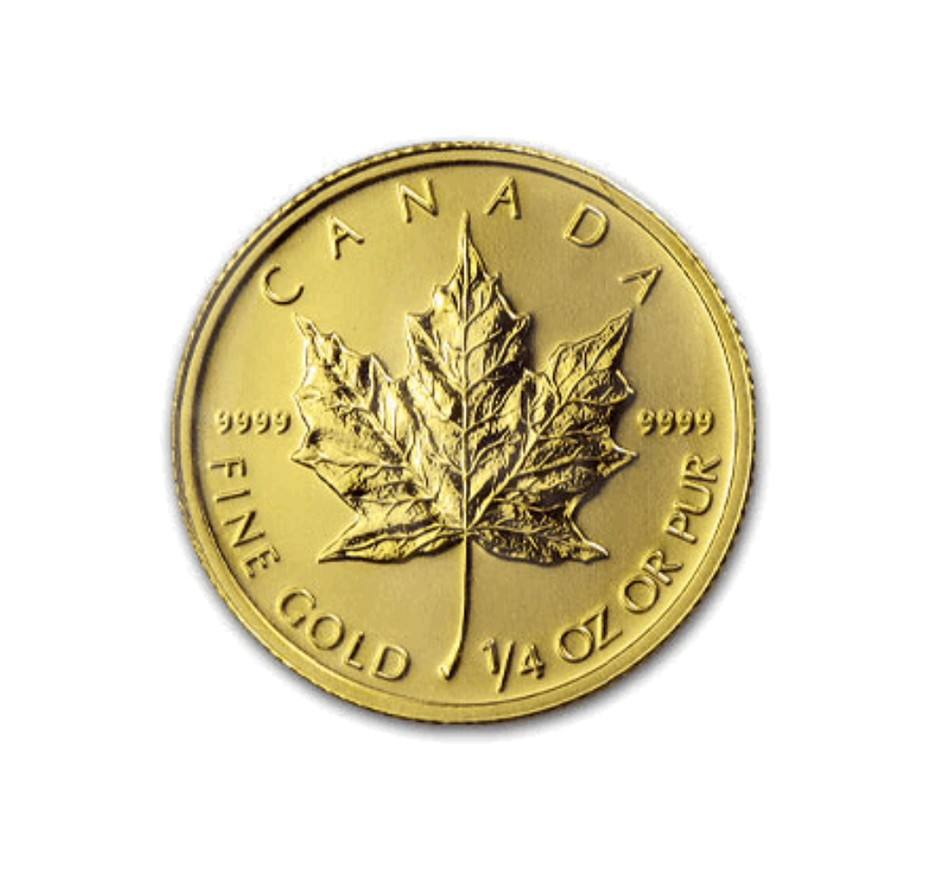 Canadian Gold Maple Leaf - 1/4 oz. (2012 & Prior) ~ $10 ...