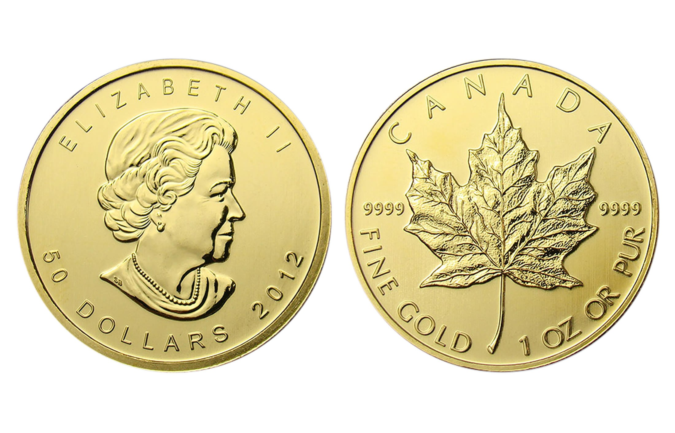 Canadian Gold Maple Leaf 1 Oz 2012 Amp Prior 50 Face
