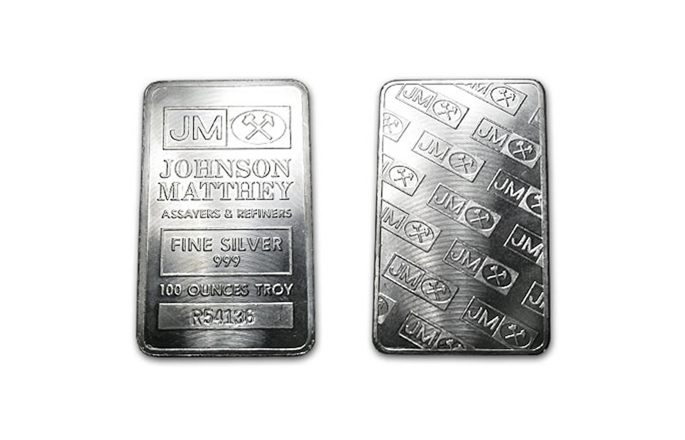 Johnson Matthey Silver Bar 100 Oz 999 Fine Silver