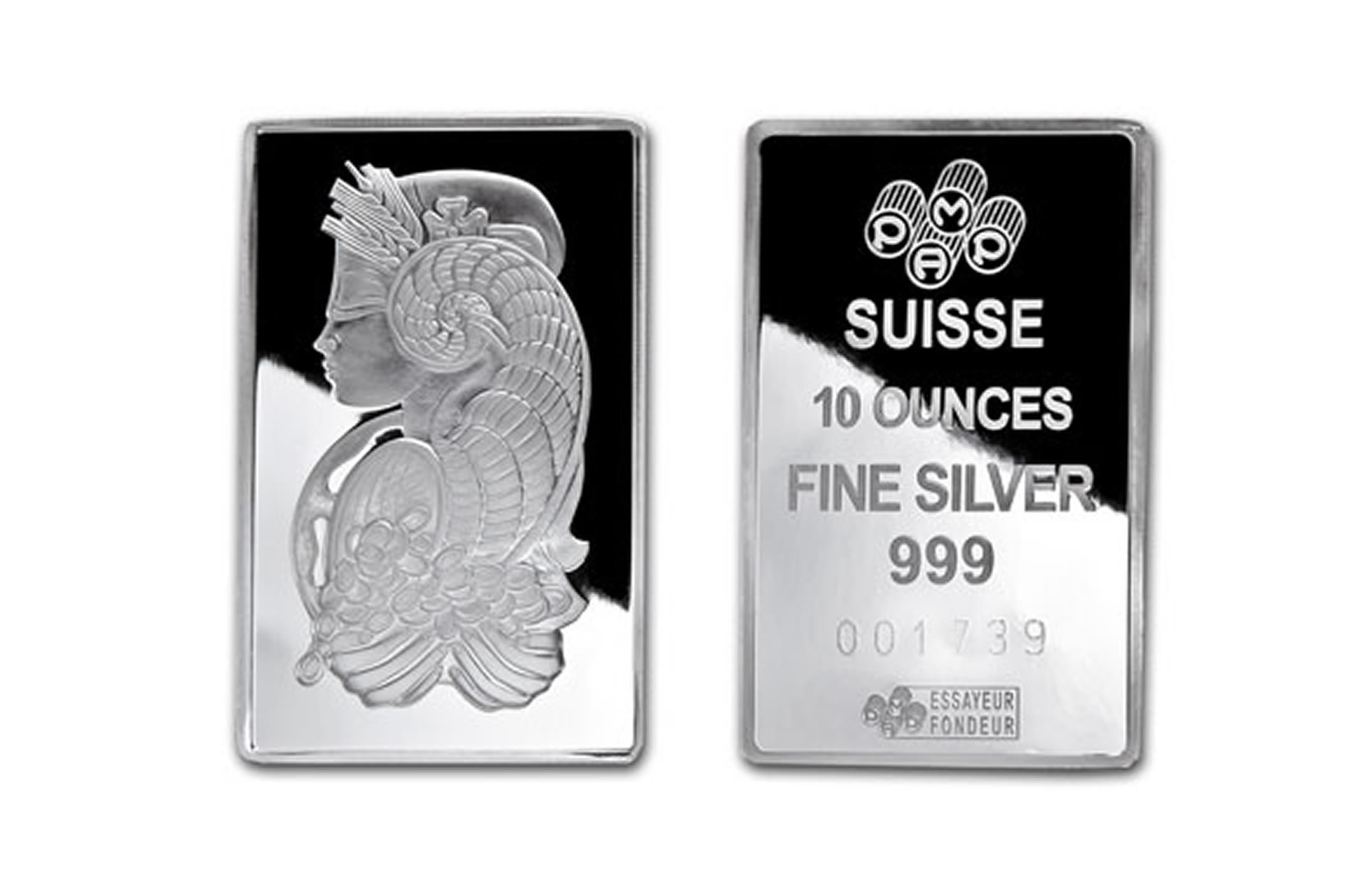 Pamp Suisse 10 Oz Silver Bar 999 Fine Swiss Coins