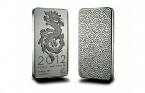 2012 Year of the Dragon 10 oz, Silver Bar .999 Fine