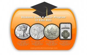 4 Coin Set: 1 x Silver Eagle Silver Coin, 1 x Canadian Silver Coin, 1 x Vienna Philharmonic Silver Coin, 1 x MS-63 Morgan Silver Dollar - 1 oz. (2012 & Prior, 1921) ~ $1, $5 (Canadian), €1.50, $1, Face Value