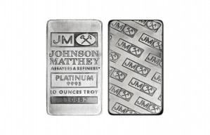 Johnson Matthey Platinum Bar; 10 oz. .999 Fine