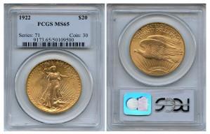 Saint Gaudens Double Eagle Coins - 1 oz. (1907 - 1933) ~ $20 Face Value  MS-65